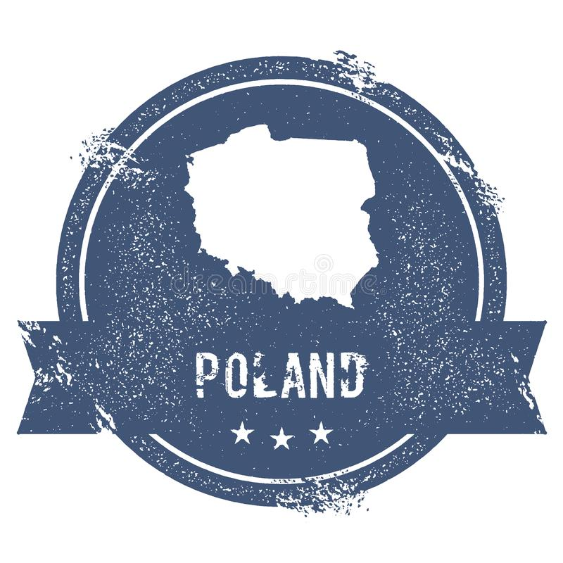 Poland mark. Travel rubber stamp with the name and map of Poland, vector illustration. Can be used as insignia, logotype, label, sticker or badge of the stock illustration