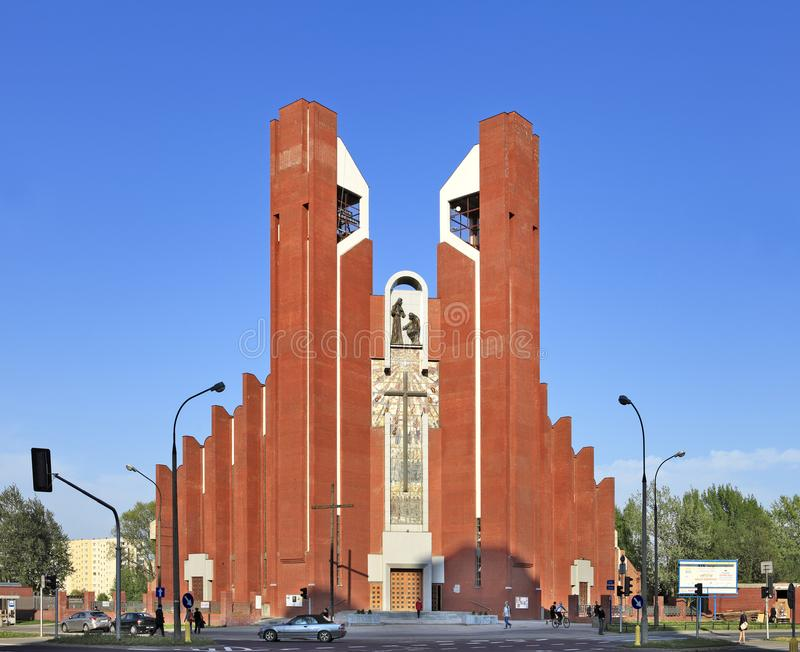 Modern sacral architecture - St. Thomas Apostle church in Warsaw, Poland. Poland, Mazovia province, Warsaw - 2013/05/16: Ursynow district – St. Thomas stock photos