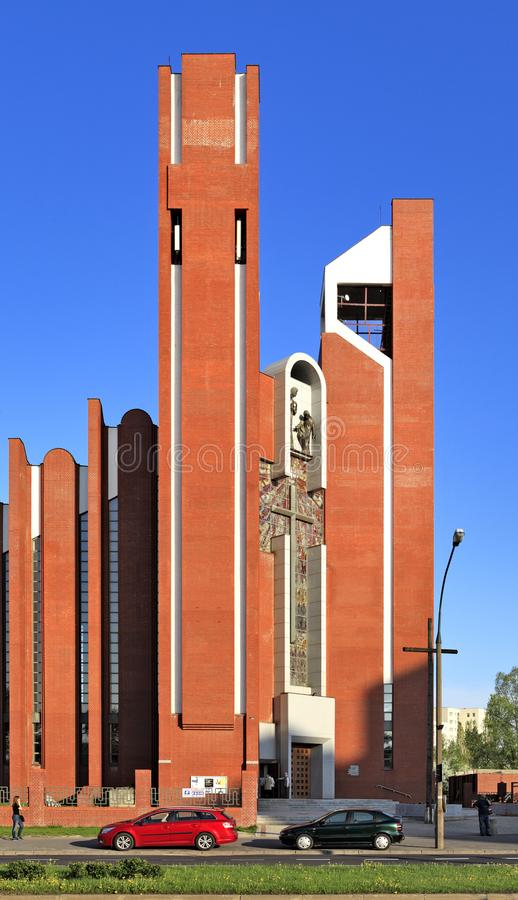 Modern sacral architecture - St. Thomas Apostle church in Warsaw, Poland. Poland, Mazovia province, Warsaw - 2013/05/16: Ursynow district – St. Thomas stock photography