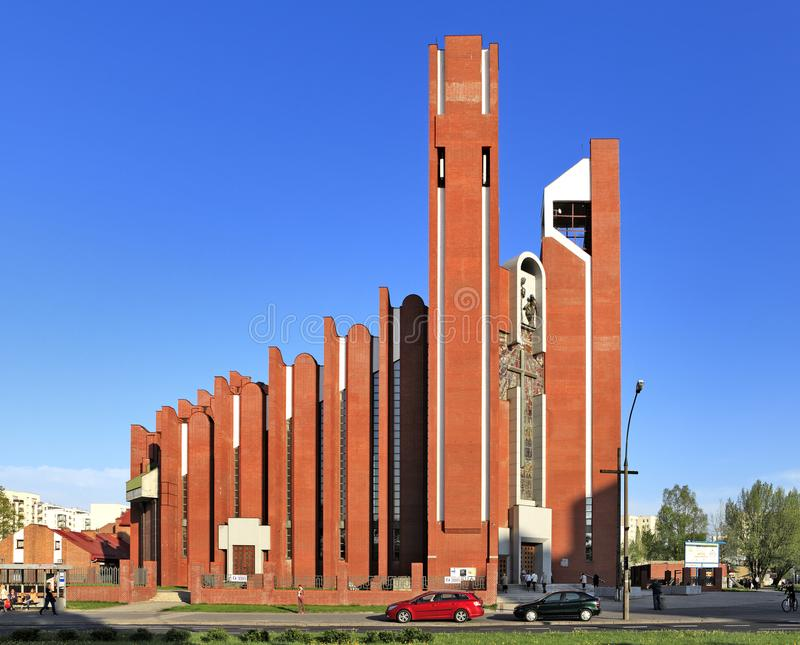 Modern sacral architecture - St. Thomas Apostle church in Warsaw, Poland. Poland, Mazovia province, Warsaw - 2013/05/16: Ursynow district – St. Thomas stock image