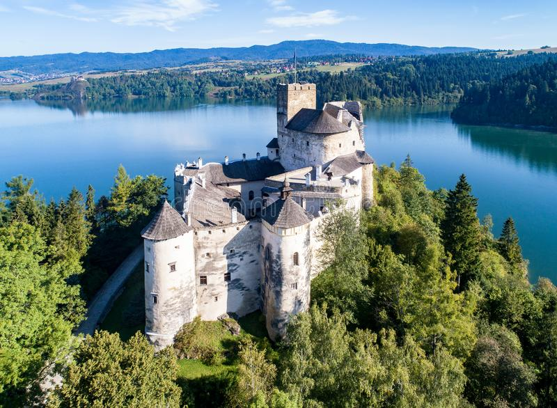 Poland. Medieval Castle in Niedzica Zamek. Aerial view. Poland. Medieval Castle in Niedzica, dating back to 14th century upper castle, Polish or Hungarian in the stock images