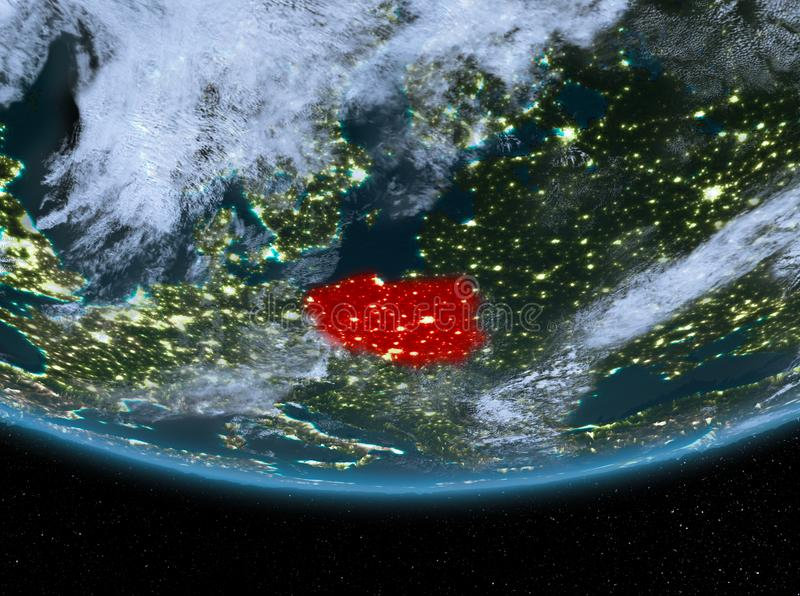 Poland at night. Highlighted in red on planet Earth with clouds. 3D illustration. Elements of this image furnished by NASA vector illustration