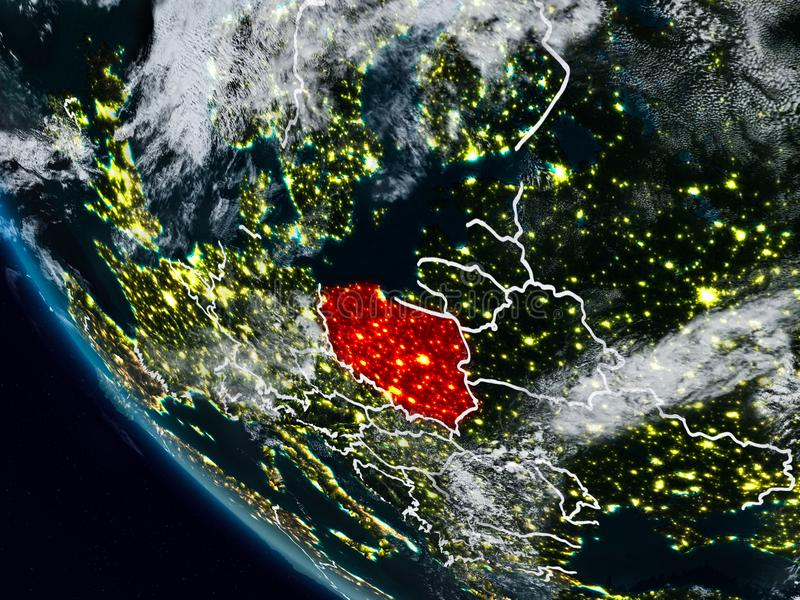 Poland at night from space vector illustration
