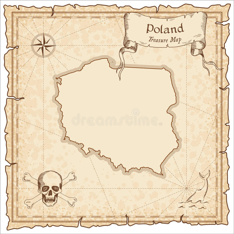 Poland old pirate map. stock illustration