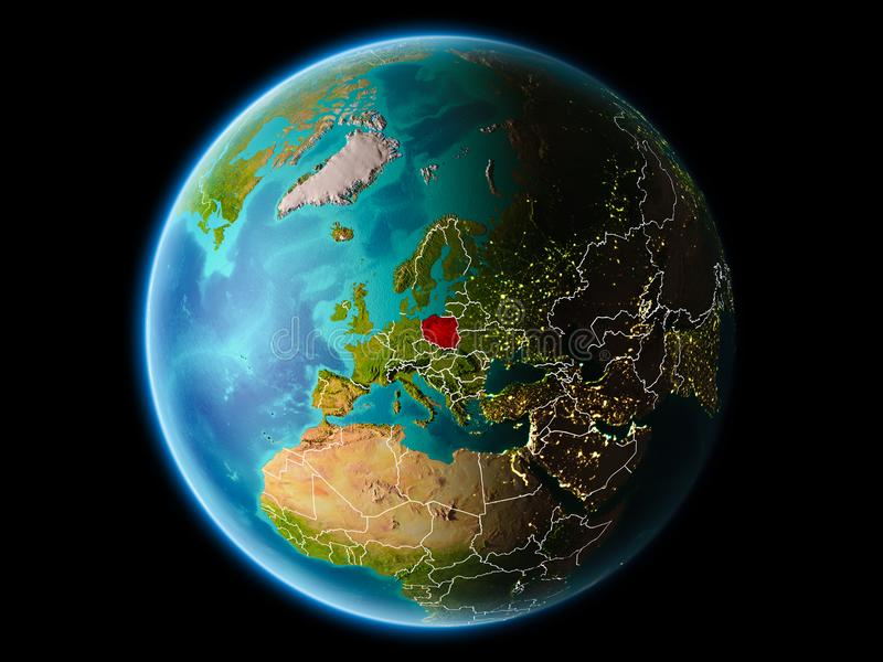 Poland in the evening. Poland from orbit of planet Earth at night with highly detailed surface textures with visible border lines and city lights. 3D vector illustration