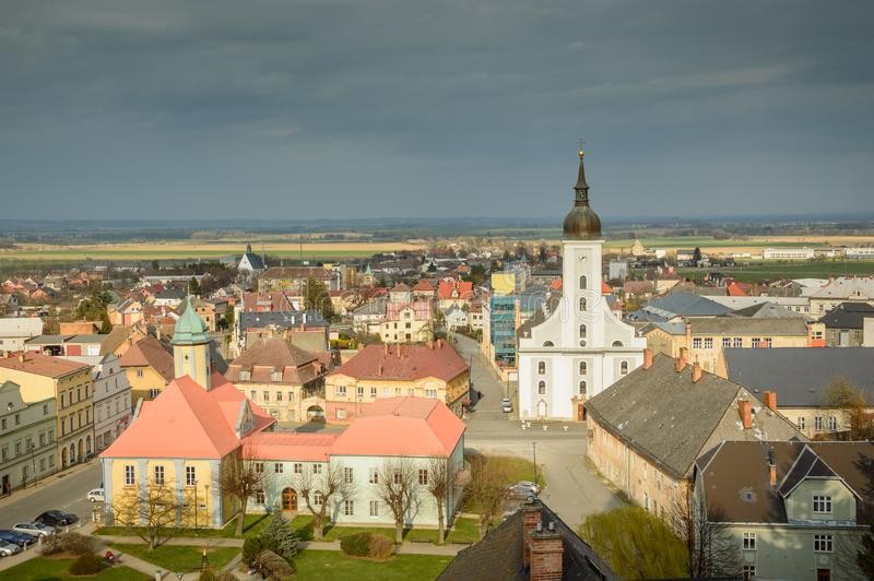 Panorama of a small town Jesenik, cloudy day royalty free stock images