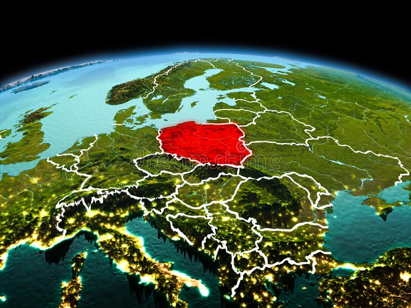 Poland on planet Earth in space. Morning above Poland highlighted in red on model of planet Earth in space with visible border lines and city lights. 3D royalty free stock images