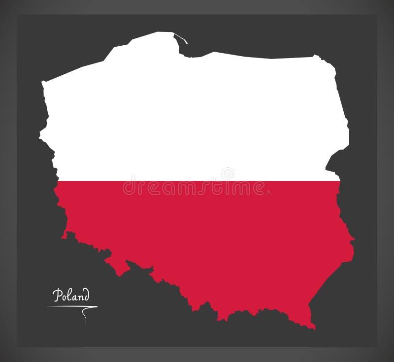 Poland with Polish national flag illustration. Poland with Polish national flag stock illustration