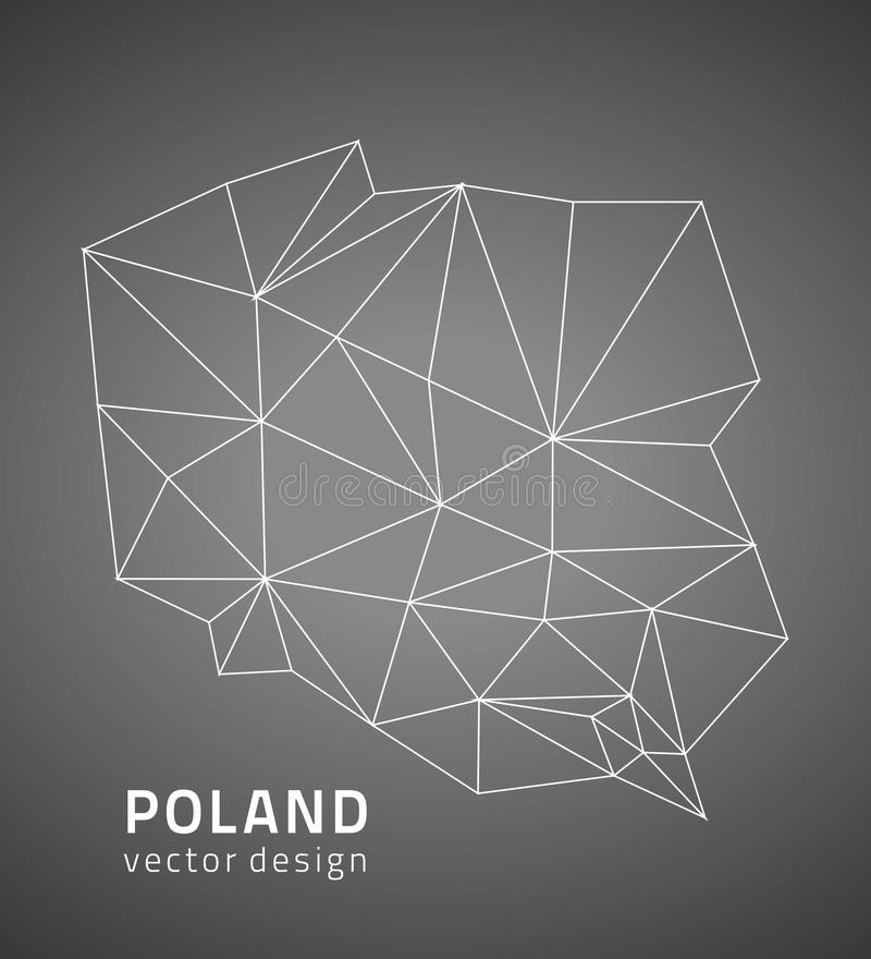 Poland polygonal outline vector map royalty free illustration