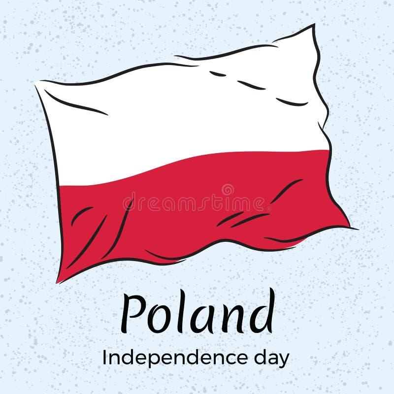 poland Priorità bassa del grunge di indipendenza Day Illustrazione di vettore della bandiera della Polonia illustrazione vettoriale