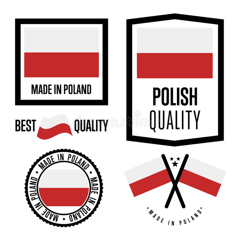 Poland quality label set for goods royalty free illustration