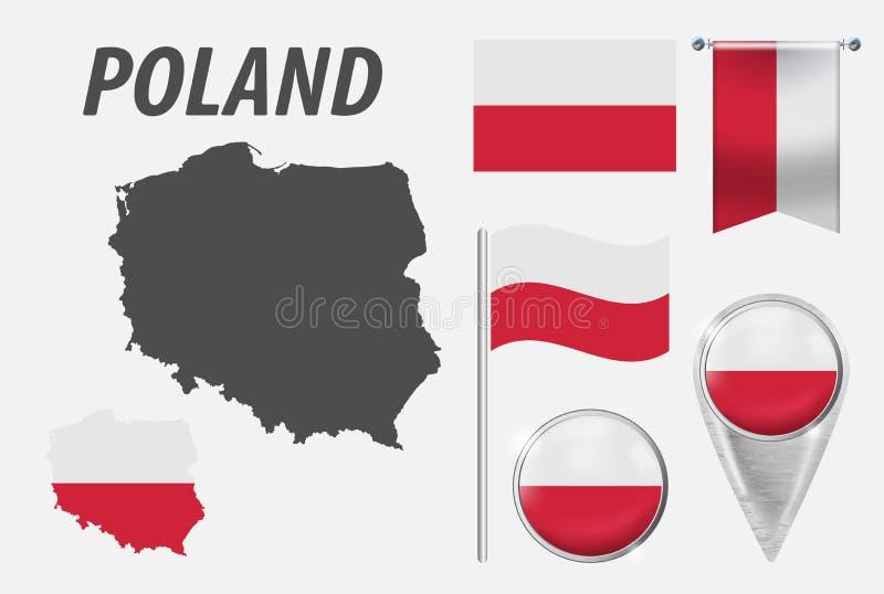 poland Raccolta dei simboli a colori la bandiera nazionale sui vari oggetti isolati su fondo bianco Bandiera, puntatore, bottone, illustrazione vettoriale