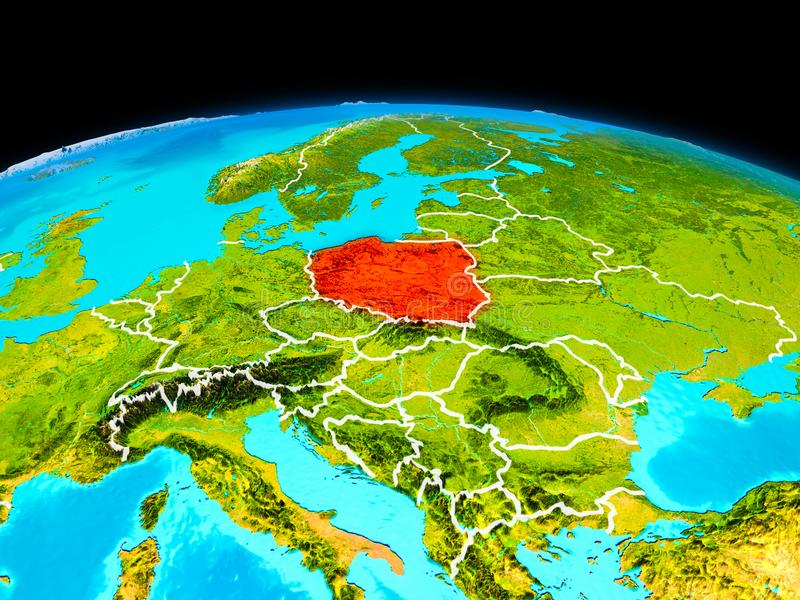 Poland in red. Satellite view of Poland highlighted in red on planet Earth with borderlines. 3D illustration. Elements of this image furnished by NASA vector illustration