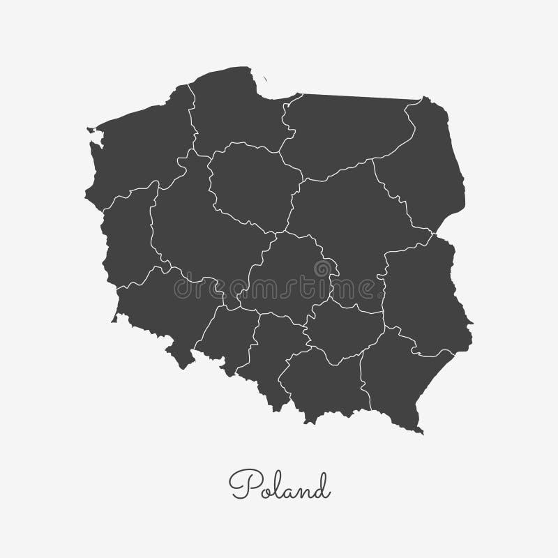 Poland region map: grey outline on white. Poland region map: grey outline on white background. Detailed map of Poland regions. Vector illustration stock illustration