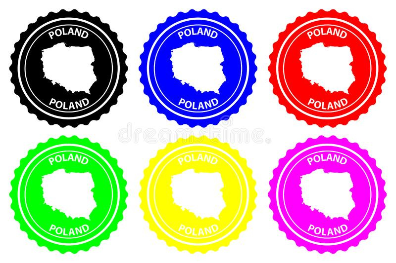 Poland rubber stamp. Poland - rubber stamp - vector, Poland map pattern - sticker - black, blue, green, yellow, purple and red royalty free illustration