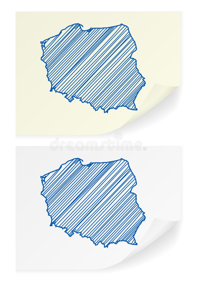 Poland scribble map. On a white background royalty free illustration