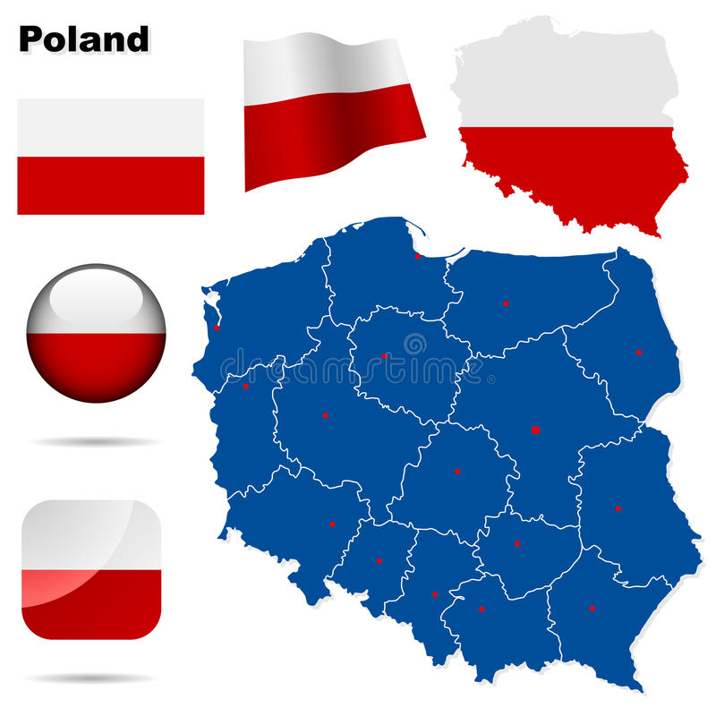 Poland set. Detailed country shape with region borders, flags and icons isolated on white background royalty free illustration