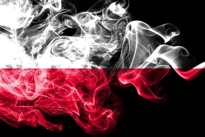 Poland smoke flag. On a black background vector illustration