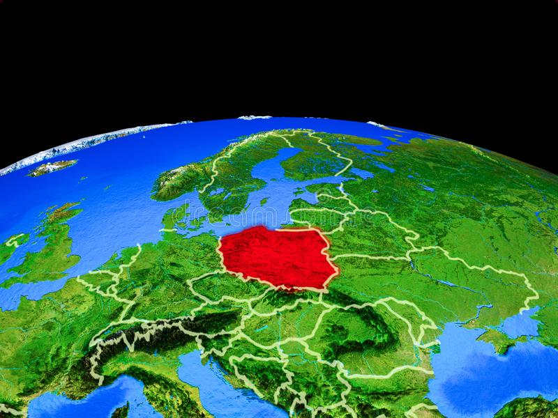 Poland from space on Earth royalty free illustration