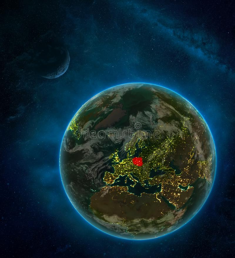 Poland from space on Earth at night surrounded by space with Moon and Milky Way. Detailed planet with city lights and clouds. 3D. Illustration. Elements of this royalty free illustration