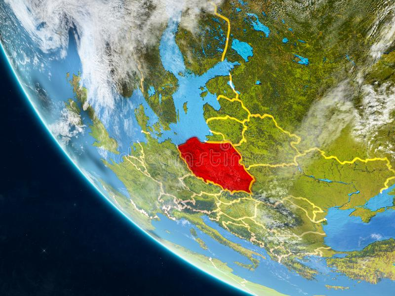 Poland from space on Earth vector illustration