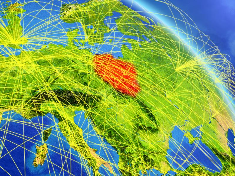Poland from space with network. Poland from space on model of planet Earth with network. Concept of digital technology, connectivity and travel. 3D illustration vector illustration