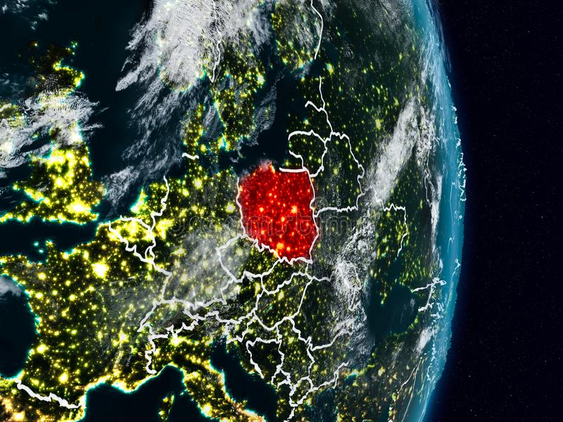 Poland from space at night vector illustration