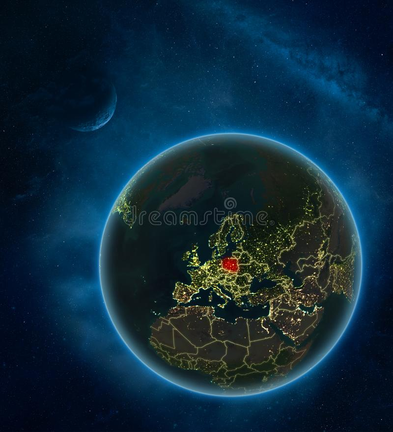 Poland from space at night stock illustration