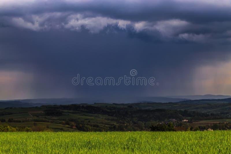 Poland spring storm rain clouds stock photos