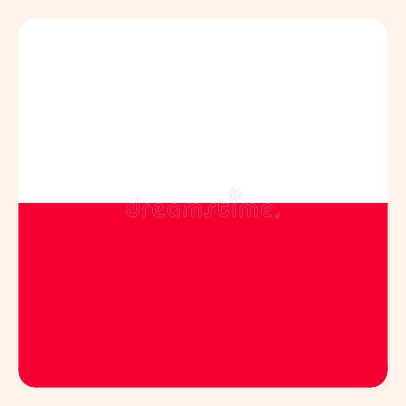 Poland square flag button, social media communication sign vector illustration