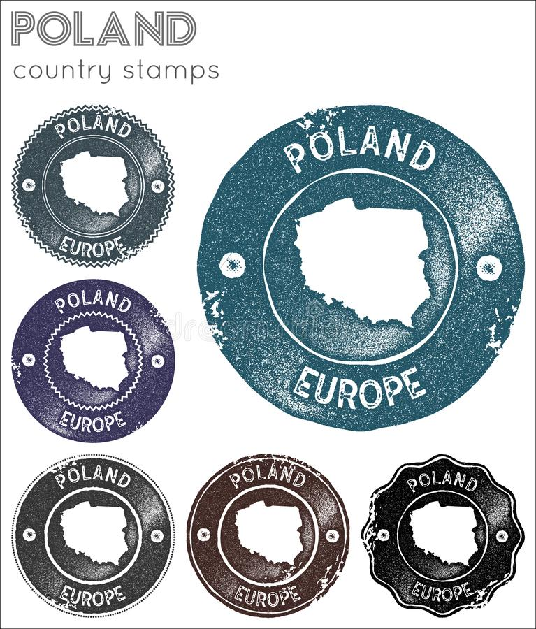 Poland stamps collection. stock illustration