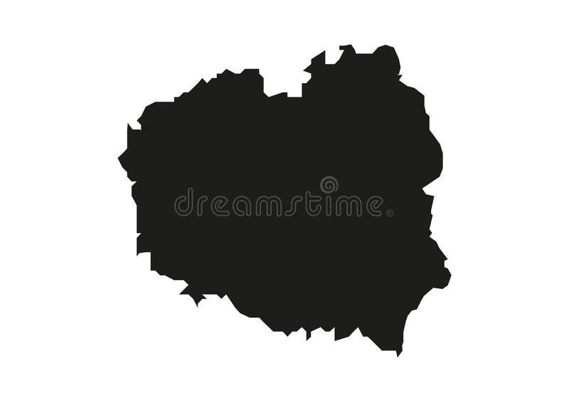 Poland State Map Vector silhouette. Europe vector format aviable royalty free illustration