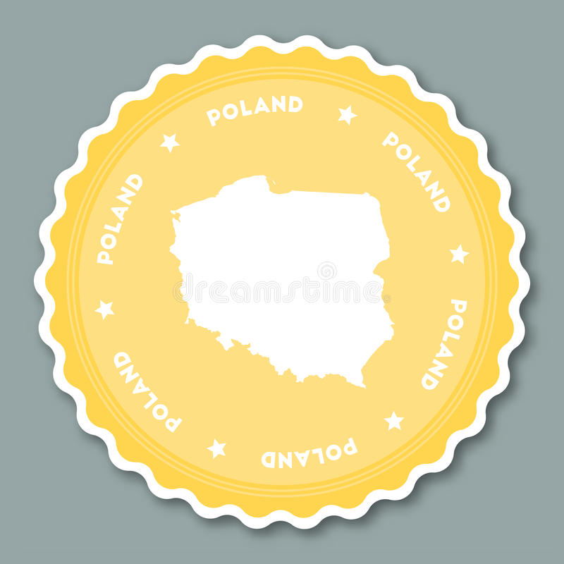 Poland sticker flat design. stock illustration