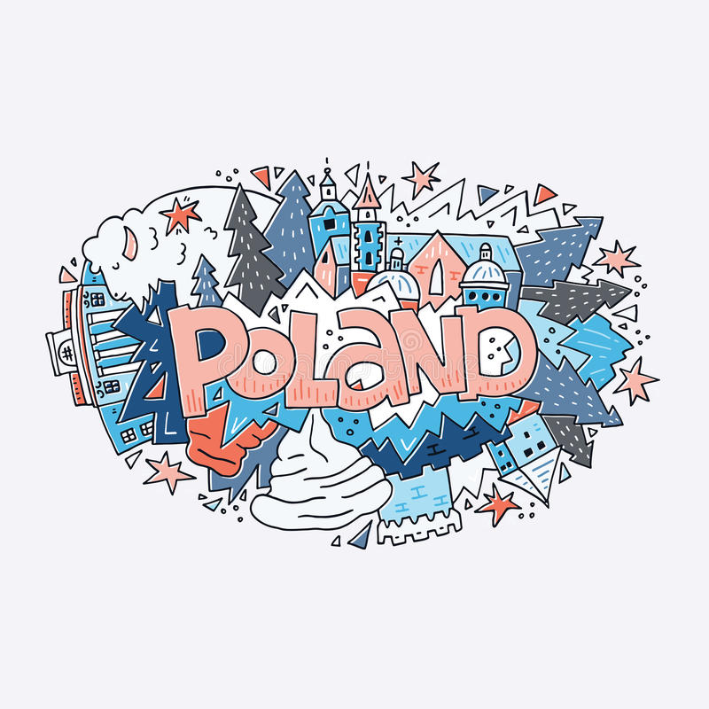 Poland symbols vector illustration royalty free illustration