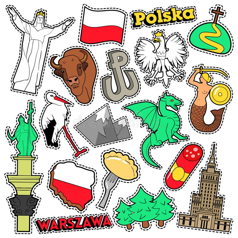 Poland Travel Scrapbook Stickers, Patches, Badges for Prints with Syrenka, Eagle and Polish Elements vector illustration