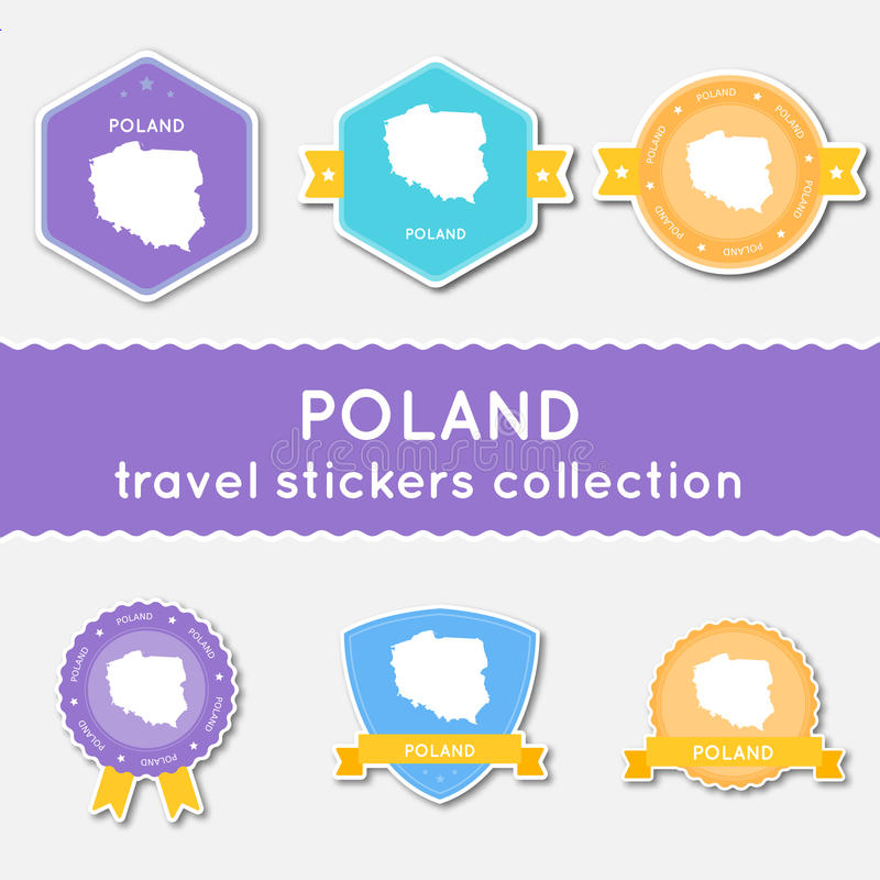 Poland travel stickers collection. vector illustration