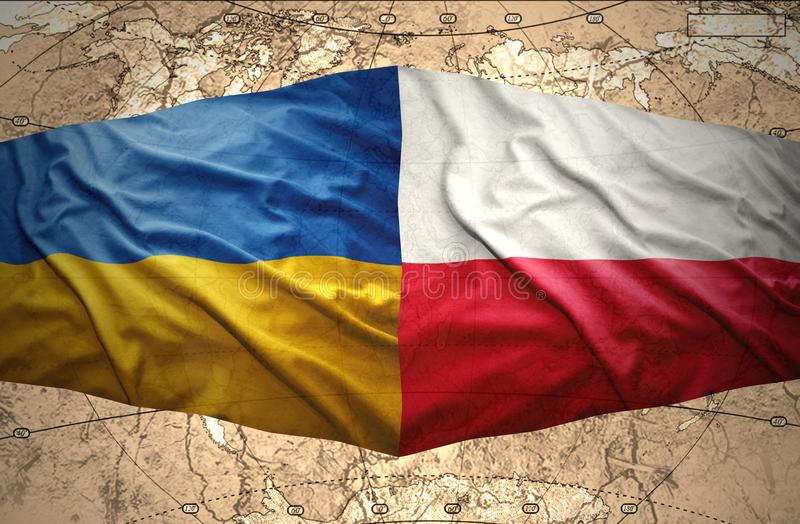 Poland and Ukraine. Waving Polish and Ukrainian flags of the political map of the world royalty free illustration