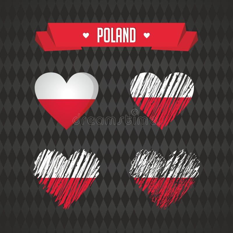 poland Una raccolta di quattro cuori di vettore con la bandiera Siluetta del cuore royalty illustrazione gratis