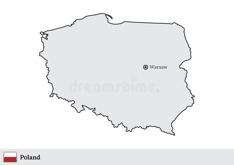 Poland vector map with the capital city of Warsaw royalty free illustration