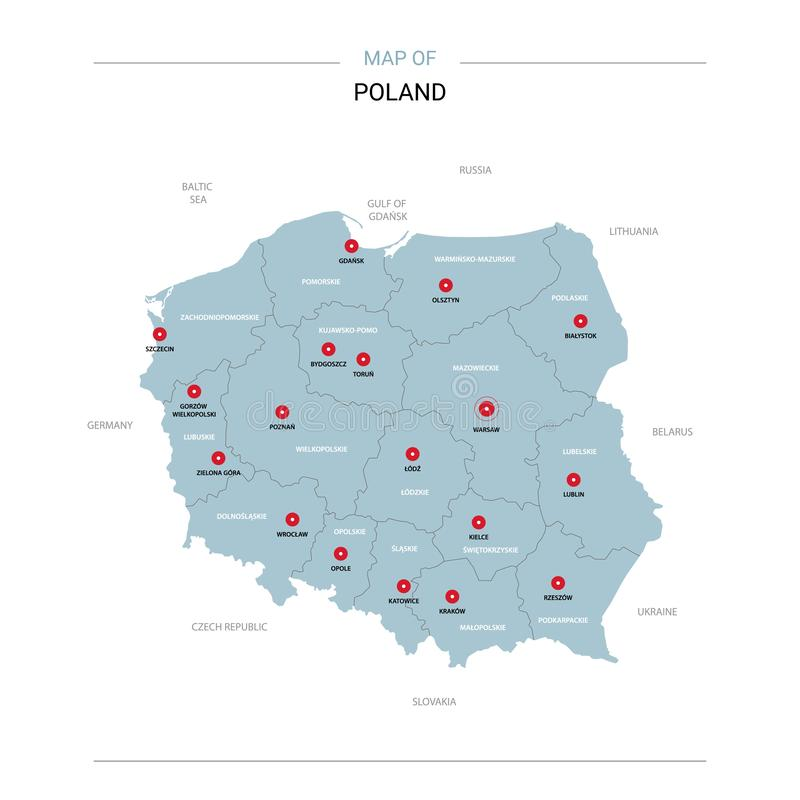 Poland map vector with red pin royalty free illustration