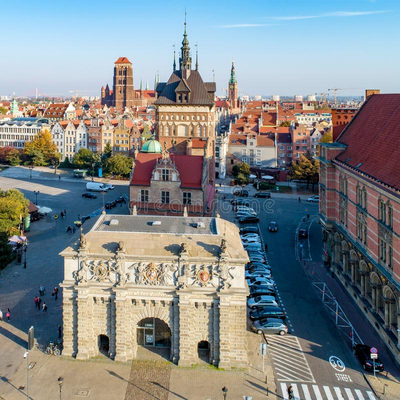 poland Vieille ville de Danzig avec des portes de ville photo libre de droits