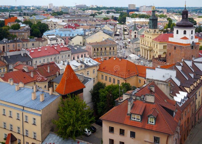 poland Vue supérieure du centre de la ville historique de Lublin photo libre de droits