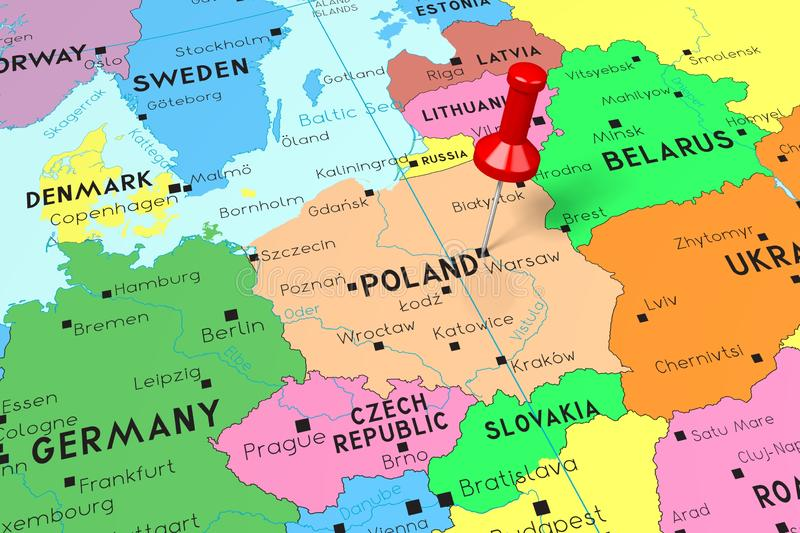 Poland, Warsaw - capital city, pinned on political map stock illustration