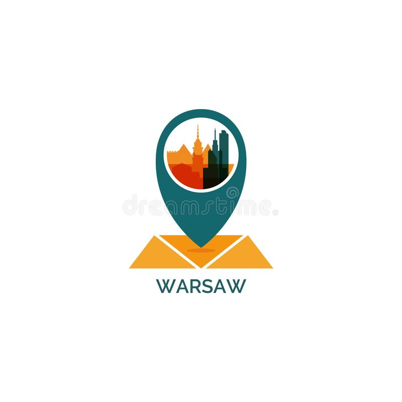 Warsaw city skyline silhouette vector logo illustration royalty free illustration