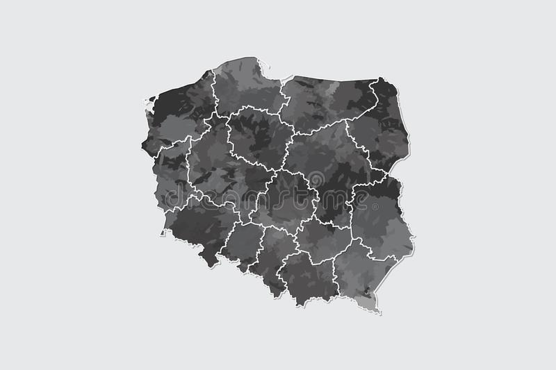 Poland watercolor map vector illustration of black color with border lines of different divisions or provinces on light background. Using paint brush in page royalty free illustration