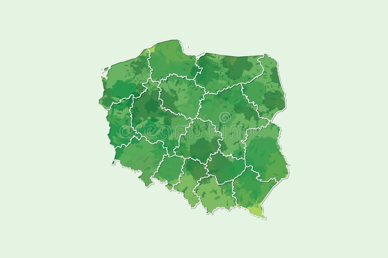 Poland watercolor map vector illustration of green color with border lines of different divisions or provinces on light background. Using paint brush in page vector illustration