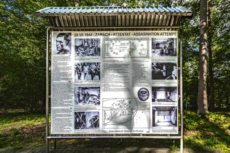 Poland 14-09-2018 Wolf, s Lair Hitler, s Headquarters Near the city of Ketrzyn, north / east Poland View of a photo showcase, wh stock images