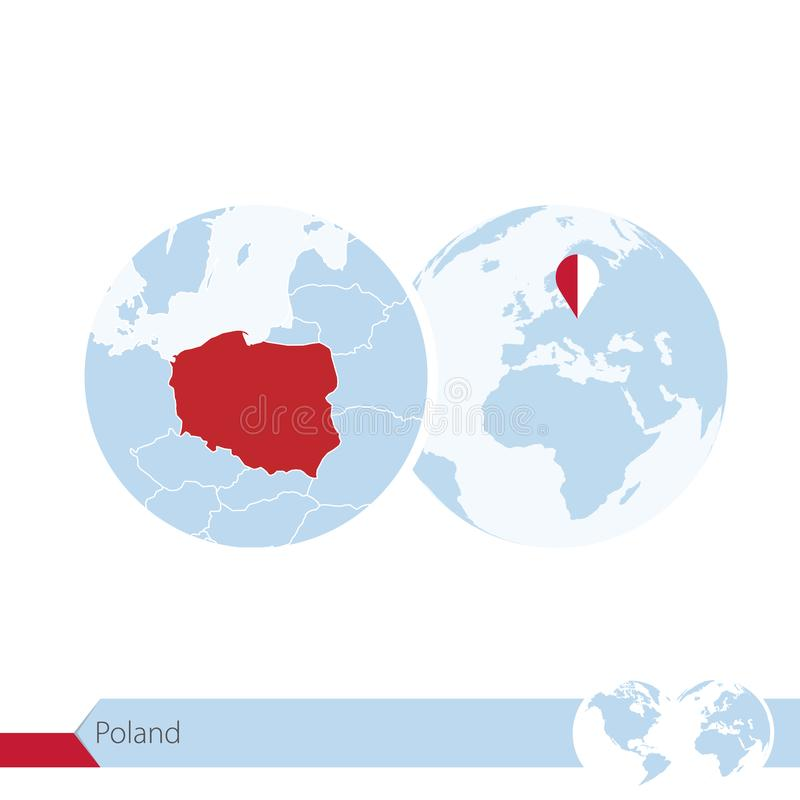 Poland on world globe with flag and regional map of Poland royalty free illustration