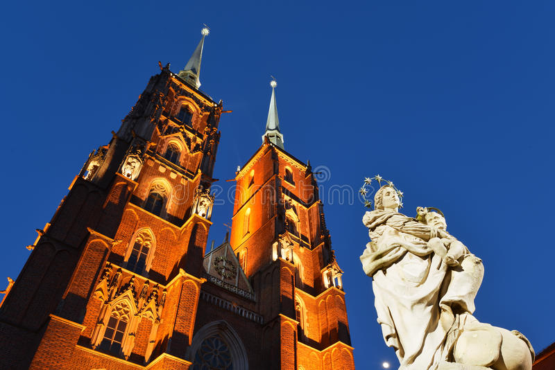 Poland, Wroclaw, Ostrow Tumski. Cathedral on the Ostrow Tumski in Wroclaw stock photos