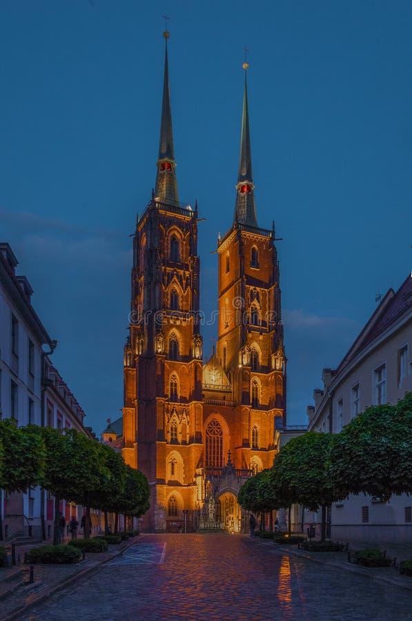 Poland. Wroclaw. Ostrow Tumski at night. Ostrow Tumski at night. Wroclaw Poland stock photos